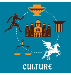 Culture greece concept with flatl icons vector