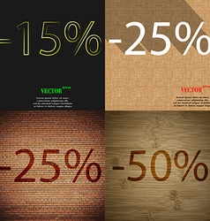 25 50 icon set of percent discount on abstract vector
