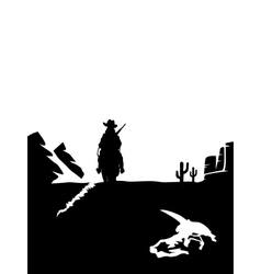 Black and white cowboy riding a horse in the vector
