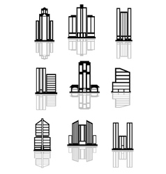 Skyscraper and office building icons vector