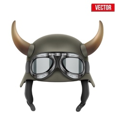 German army helmet with horns and protective vector