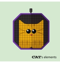 Tabby cat in pet carrier vector