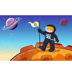 A man in the outerspace with a banner vector