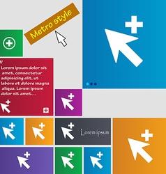 Cursor arrow plus add icon sign metro style vector