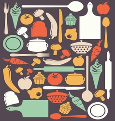 Cute kitchen pattern vector