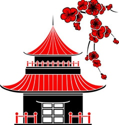 Asian house and cherry blossoms vector
