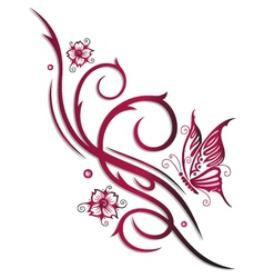 Cherry blossoms butterfly vector