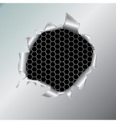 Hexagon metallic background under hole vector