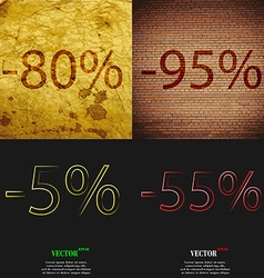 95 5 55 icon set of percent discount on abstract vector