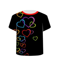 T shirt template- colorful hearts vector