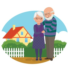 Elderly couple at their home vector