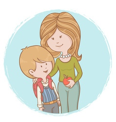 Mother and child pupil with backpack vector