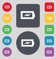 Battery charging icon sign a set of 12 colored vector