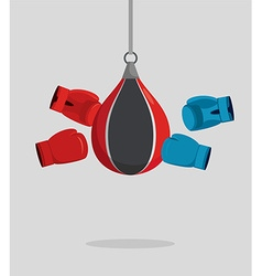 Punch bag and gloves equipment for boxing exercise vector