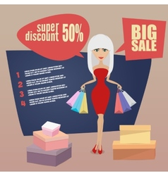 Girl or woman on shopping sale holding bags retro vector