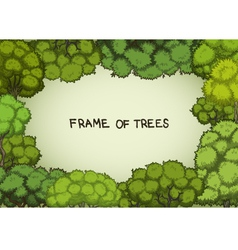 Horizontal frame of the cartoon deciduous trees vector