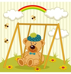 Teddy bear on swing vector