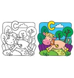 Little cow or calf coloring book alphabet c vector