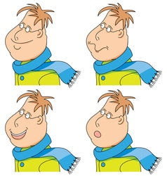 Cartoon man with a scarf and coat emotions set vector