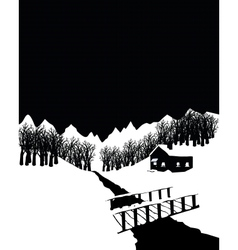 Black and white winter landscape with cottage in vector