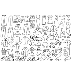 Fashion and clothing icons collection vector