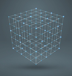 Wireframe polygonal element 3d cube with diamonds vector