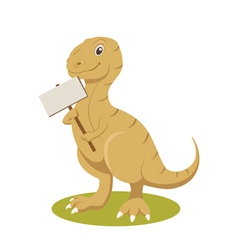 T-rex smiling with sign vector