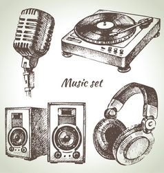 Music set hand drawn of dj icons vector