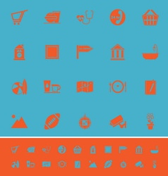 Public place sign color icons on light blue vector