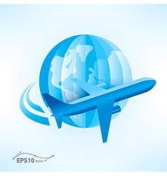 Plane globe origami 3d paper vector