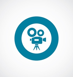 Video camera icon bold blue circle border vector