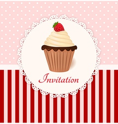 Vintage invitation card with strawberry cream cake vector