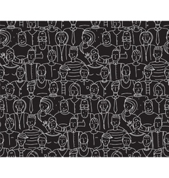 Black and white people seamless background pattern vector