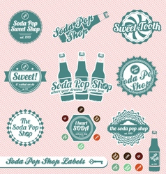 Vintage soda pop labels and stickers vector