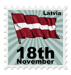 Post stamp of national day of latvia vector