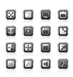Phone performance and office icons vector