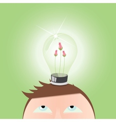 Ecology green light idea bulb vector