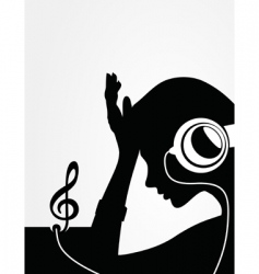 Girl in earphones vector