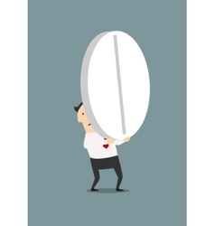 Businessman carrying a big pill vector
