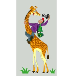 Giraffe and photographer vector
