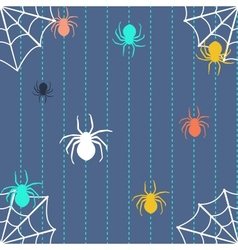 Stripy background with spiders and web vector