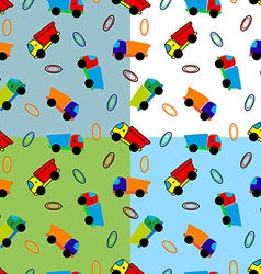 Seamless toy truck pattern vector