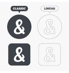 Ampersand sign icon logical operator and vector