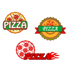 Tasty pizza banners and emblems set vector