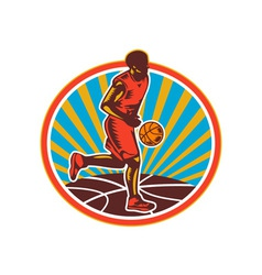Basketball player dribbling ball woodcut retro vector