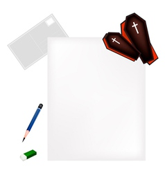 Pencil lying on blank page with black coffins vector
