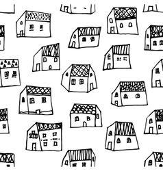 City seamless pattern in black and white is vector