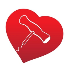 Corckscrew on read heart background vector