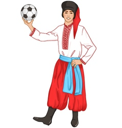 Young man in ukrainian clothes with football vector
