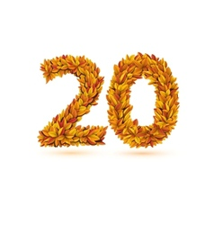 Twenty 20 number of autumn fall bright orange vector